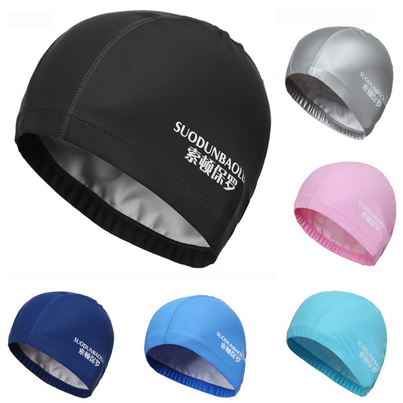 New 2018 Elastic Waterproof PU Fabric Protect Ears Long Hair Sports Swim Pool Hat Swimming Cap Free size for Men & Women Adults