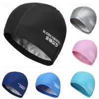 New 2019 Elastic Waterproof PU Fabric Protect Ears Long Hair Sports Swim Pool Hat Swimming Cap Free size for Men & Women Adults
