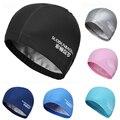 Nuevo 2019 elástico impermeable de la PU de la tela protege las orejas del pelo largo de los deportes de la piscina sombrero de natación gorra de natación tamaño libre para los hombres y mujeres adultos