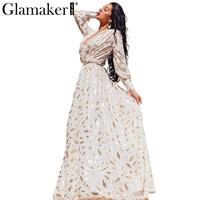 Glamaker Gold Feather Print Long Sleeve Split Robe Sexy Dress Autumn Party Women Maxi Dress 2016