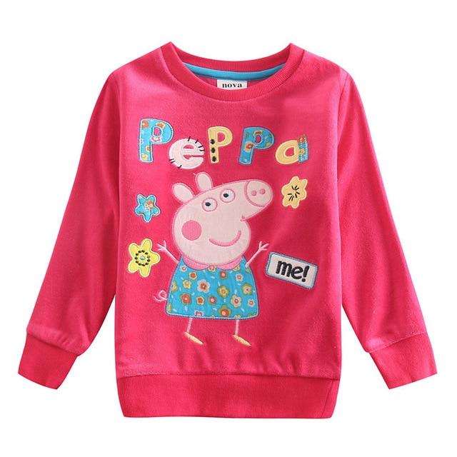 8bfeddbe2 2015 Peppa Pig Clothing Girl Shirt Long Sleeve 100% Cotton Kids Infant Shirts  Children Girls Top roupas meninos T-shirt PPTX-1