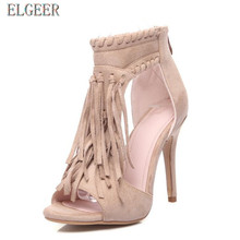 2018 summer high-heeled fish mouth tassel fine with women sandals shoes