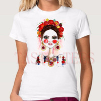 Fashion 100 Cotton White Frida Kahlo Tshirt Women Funny Print Brand Clothing O Neck Shirt Camisetas