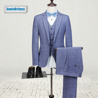2018 New Men suit Blazers lattice Slim Fit Groom Tuxedos Men Suits Business best man Wedding Suits For Men Prom dress 3PIECE