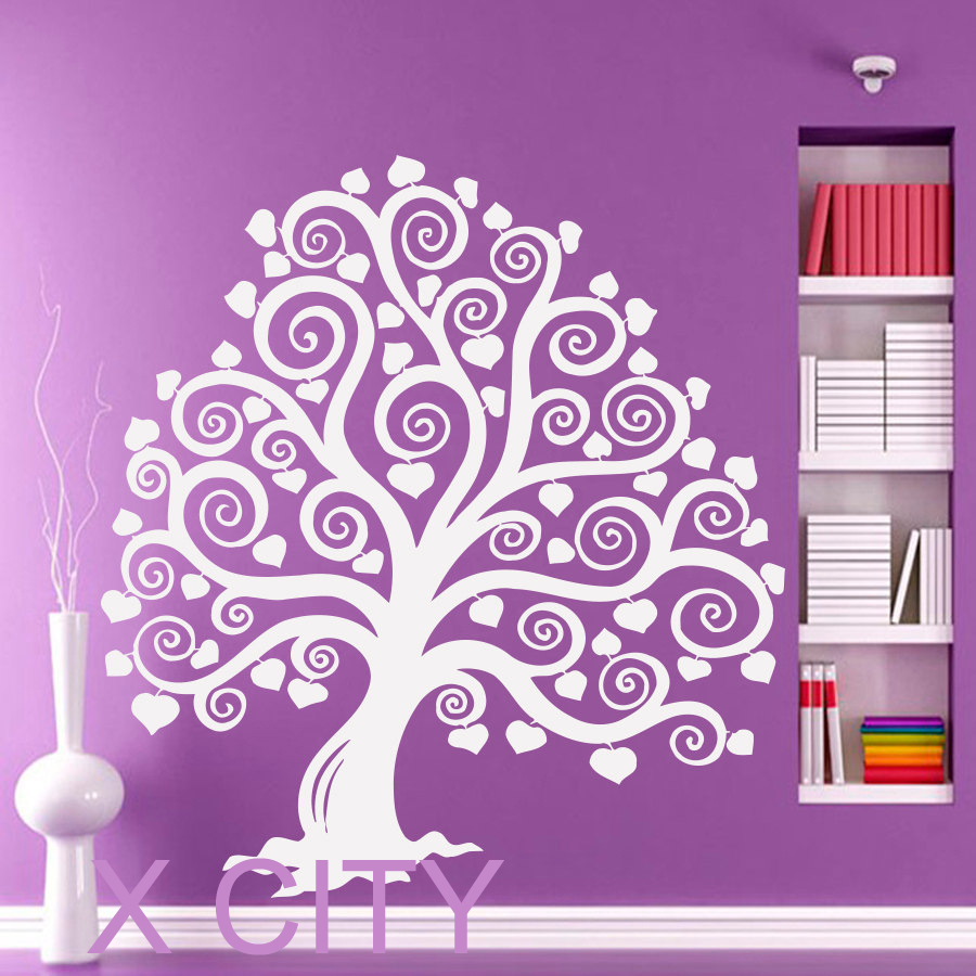 Cute marchen tree heart wall art sticker vinyl die cut for Cute gold heart wall decals