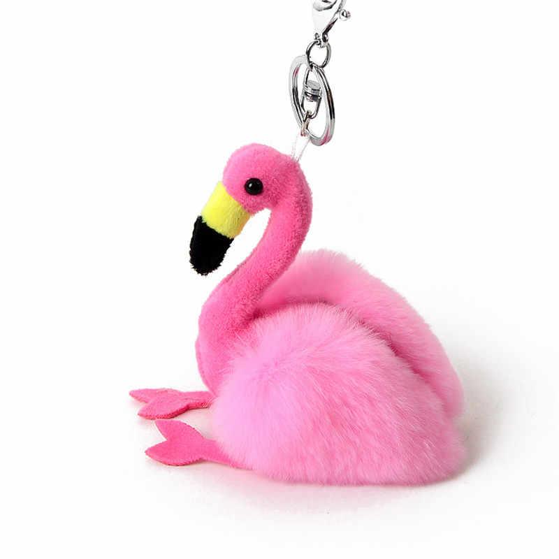 Mignon fourrure Flamingo ange porte-clés pompon moelleux en peluche véritable lapin fourrure porte-clés sac à main décor de voiture porte-clés porte-clés bijoux