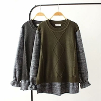 New Autumn Faux Two Piece Sweater Woolen Patchwork Plu Size Loose Crochet Pullovers O neck Casual Women Pullovers YY8569