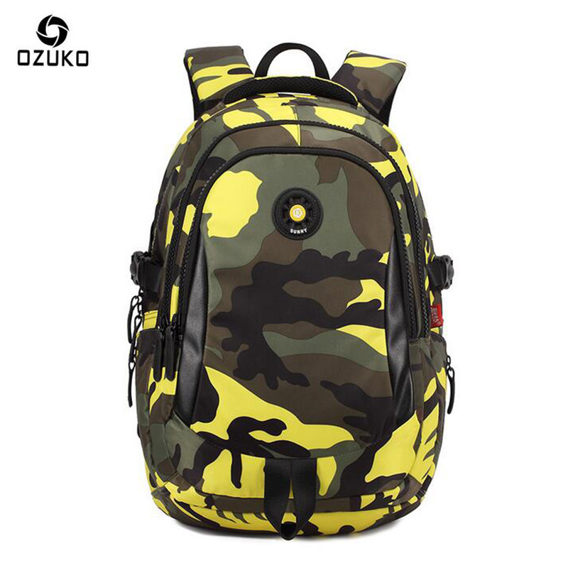 OZUKO Men Backpack Waterproof School Bags For Teenagers Camouflage Designer Laptop Printing Backpack Men Fashion Boy Schoolbag senkey style designer backpack men high quality 2017 waterproof leather retro laptop backpack women school bags for teenagers