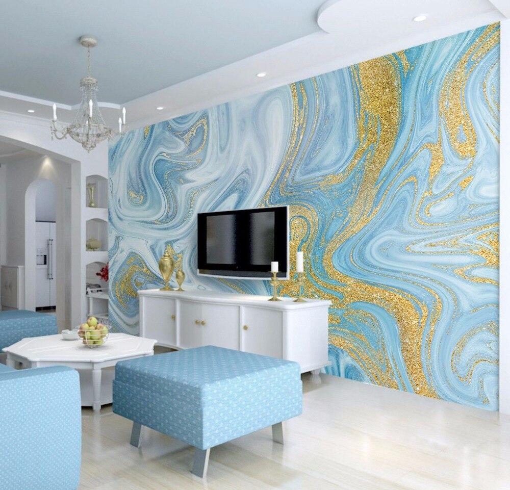 Luxuriöse Gold Druck Blau Textur Marmor Tapete Wandmalereien 3d Wand Foto  Wandbild Für Schlafzimmer 3d Wandmalereien 3D Marmor Wand Papier