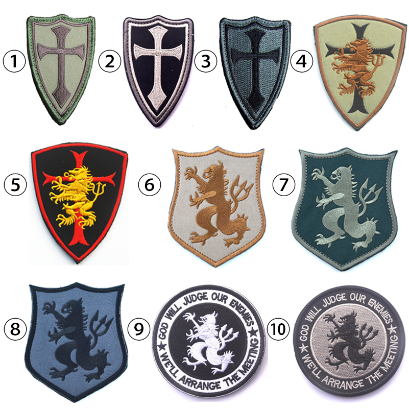 Devgru Lion Cross Crusader Shield Navy Seal Team 6 Military Tactical Morale Patch 3D US Embroidery Badge Military Armband Badge skull necklace raven skull