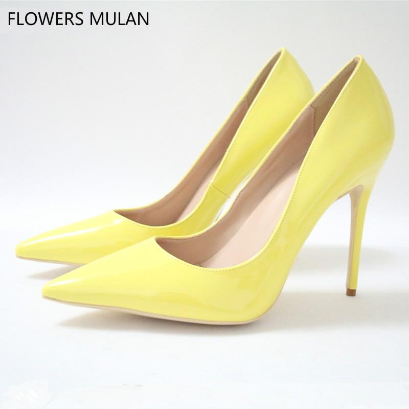 25de946e139 Spring Lemon Yellow PU High Heels Pumps Women 10 12cm Fashion 2018 Lady  Office Pointed Toe Slip on Stilettos High-heeled Shoes