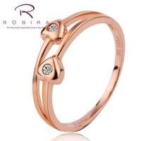 Robira Marke 100% Natürliche Echte Diamant Ringe 0,04 CT Herz Design 18 Karat Roségold Ehering Schmuck für Frauen