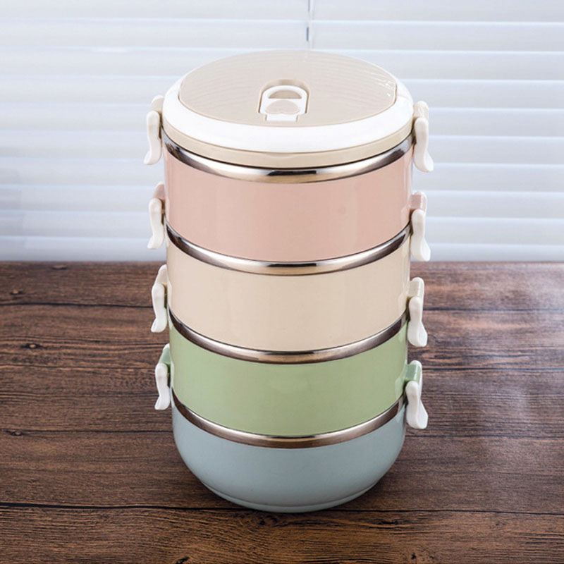 New Fashion Stainless Steel Lunch Bento Box With Food Divided Layers Food Thermos Heated Container Kitchen Dining Tools