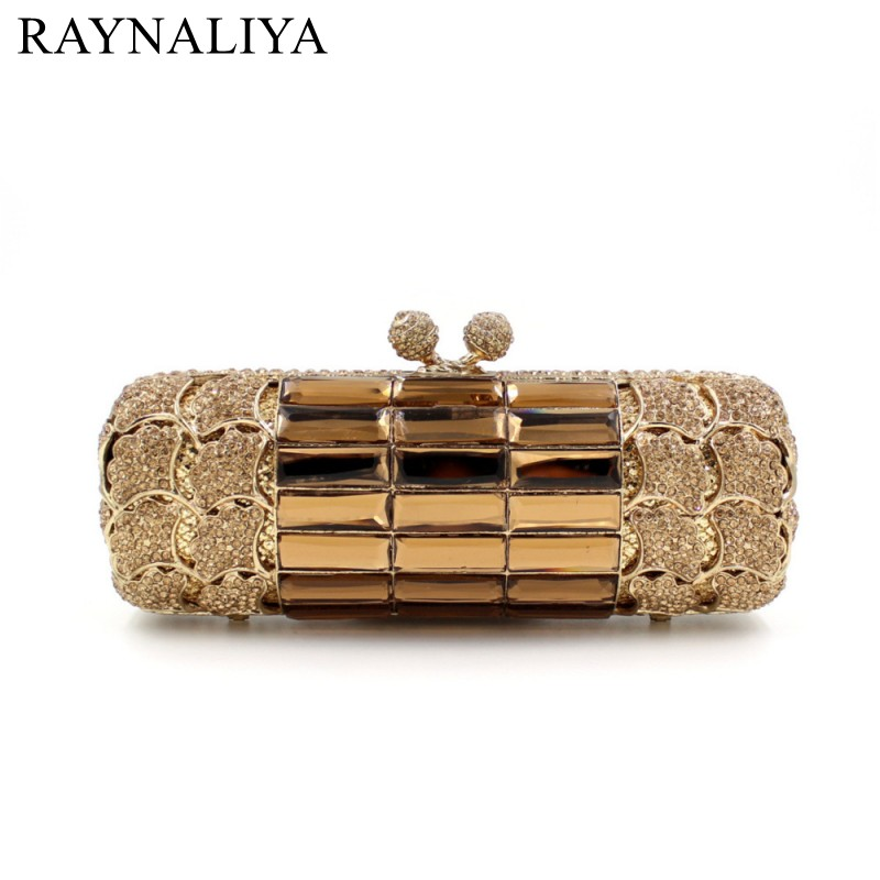 Gold Women Clutches Bag Silver Diamonds Wedding Evening Bags Gold Luxury Crystal Handbags Party Purse With Chain SMYZH-E0026 gold plating floral flower hollow out dazzling crystal women bag luxury brand clutches diamonds wedding evening clutch purse