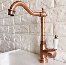 Antique Red Copper Bathroom Basin Faucet Single Handle Kitchen Sink Faucet Cold and Hot Mixer Water Bnf402 узы крови звезды сияют с небес