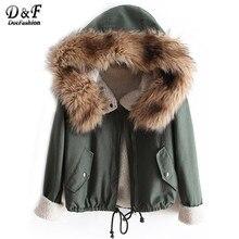 2016 Winter/Spring Korean Designer Fashion Women's Outwear Short Causal Solid Fur Hooded Warm Long Sleeve Drawstring Coat