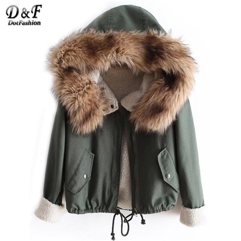 Dotfashion Winter/Spring Designer Fashion Women's Outwear Short Causal Solid Fur Hooded Warm Long Sleeve Drawstring Coat