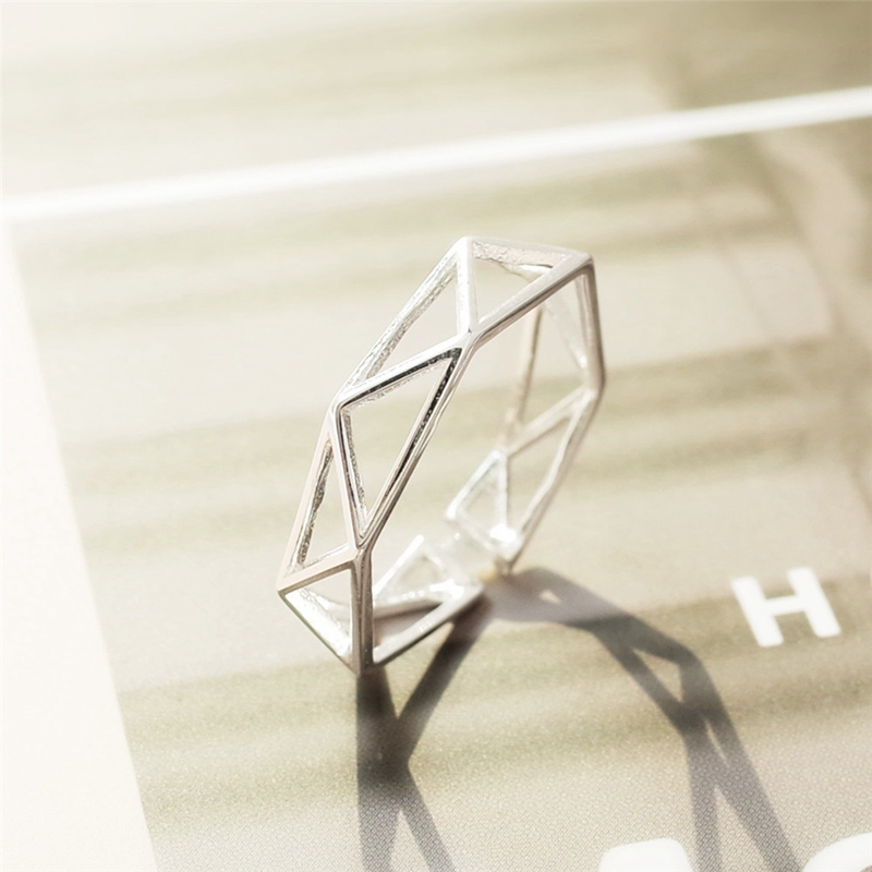 Whole Body 925 Sterling Silver Mesh Cross Rings New Design Geometry Openwork Open Finger Rings For Men And Women