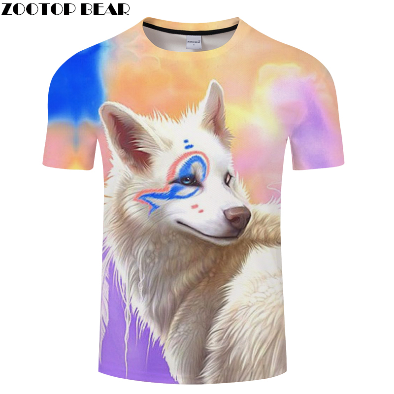 Cartoon tshirt Wolf t shirt Men 3D T-shirt Streatwear Top Short Sleeve Tee Rainbow Camiseta Short Sleeve Hot DropShip ZOOTOPBEAR