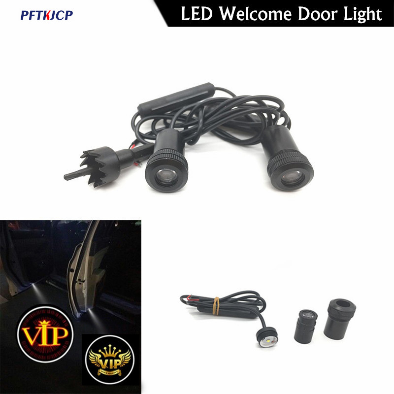 2Pcs Welcome Lamp Logo Laser Projector Car LED Door Warning Light For Ford mustang focus Audi A 4 A5 A6 A7 Q7 light sticker