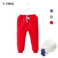 V-TREE Outono inverno meninos e meninas do bebê engrossar calças além de veludo menina legging crianças calça jeans crianças roupas de calças quentes
