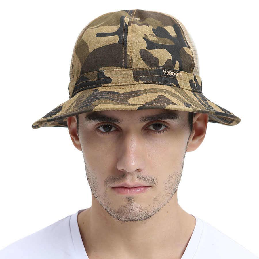Sommer Halb Mesh Net Eimer Hüte Panama Kappe Männer Camo Fischer Hut Irish Land Sitzung Hüte Breite Nach Unten- abfallenden Krempe 135