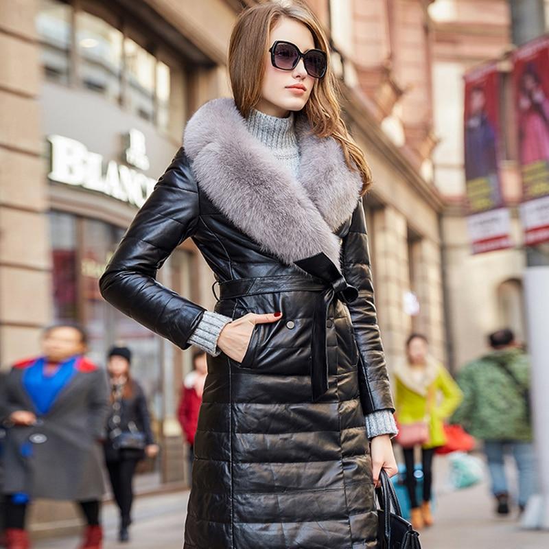2018 Noir Chaud Slim Renard Grand Cuir Naturel Peau Long D'hiver Veste Véritable Manteau Nouveau Outwear Femmes Automne En Fourrure De Col Épais Mouton rqBwra