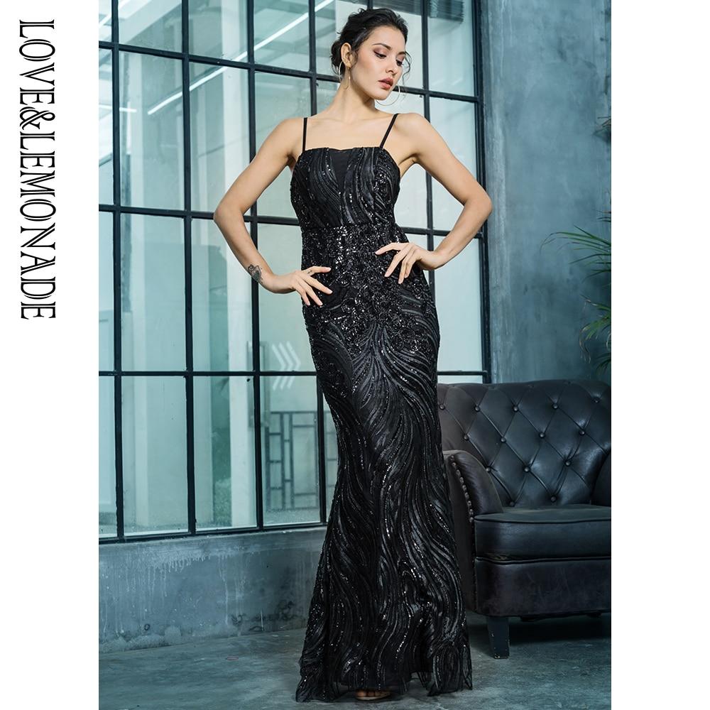 Love Lemonade Black Bra Slim Sequin Material Long Dress LM81318
