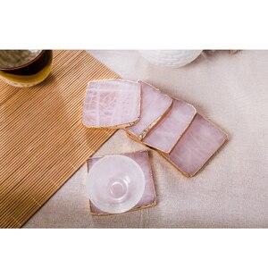 2 sztuk/paczka różowy onyx agat coaster złota wkładka maty klocki biżuteria pad agat kromka próbki pokaż pokładzie kamień naturalny rzemiosło różowy