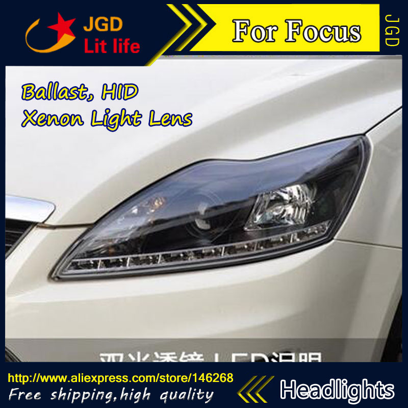 Free shipping ! Car styling LED HID Rio LED headlights Head Lamp case for Ford Focus 2009 Bi-Xenon Lens low beam car styling led head lamp for ford focus2 headlights 2009 2012 focus led headlight turn signal drl h7 hid bi xenon lens low beam