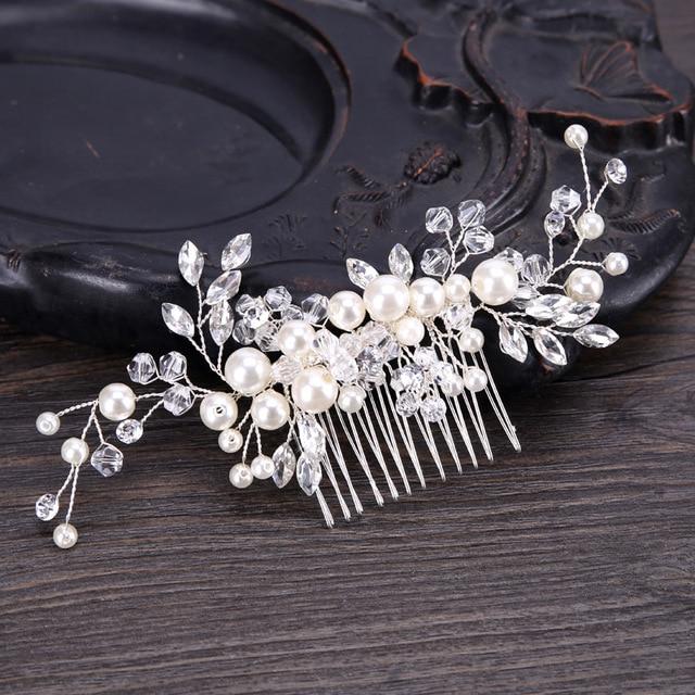 abb059b42250 Fashion Floral Rhinestone Leaves Wedding Hair Accessories Pearl Crystal Flower  Bridal Hair Combs Brides Tiaras Crowns Headbands