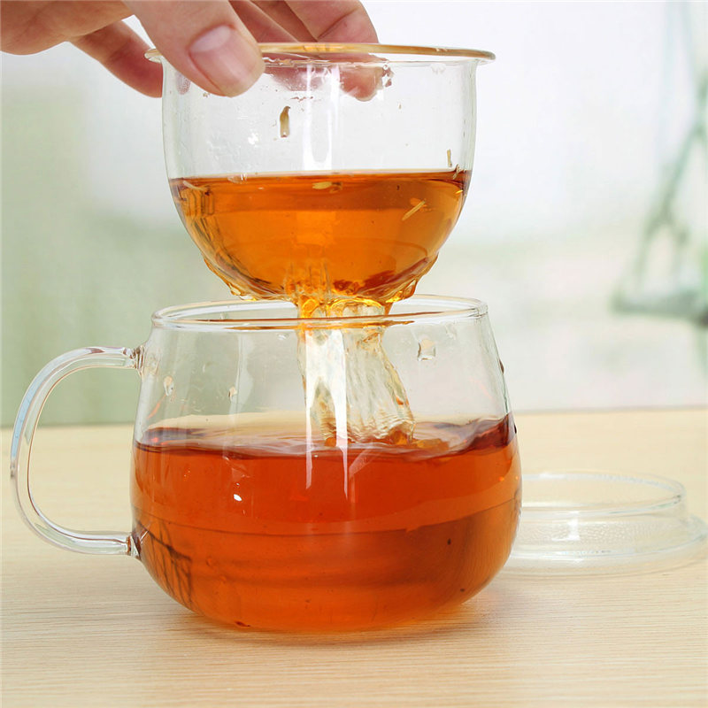 320ML Clear Heat Resistant Teapot Tea Cup Coffee Cup With Tea Infuser Filter Lid Home Office Drinkware Cupware 80x80x85mm