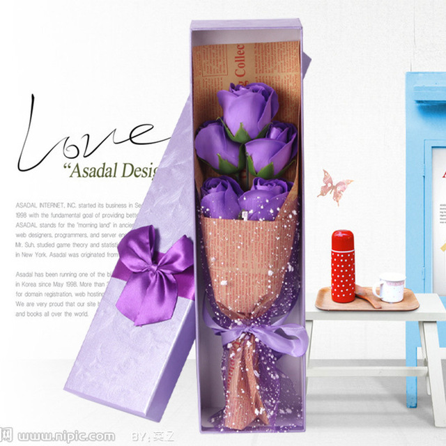 5pc Soap Roses Bouquet Birthday Gift Teacher S Day Valentines Mothers Wedding Decoration With Luxury Box
