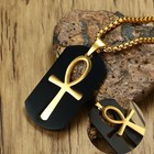 Men Black Dog Tag Cut out Ankh Egyptian Cross Pendant Necklace for Men Stainless Steel Allah Religious Male Jewelry 24