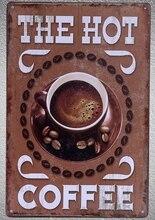1 pc Italian hot Coffee Doppio Espresso cappuccino Americano Tin Plate Sign wall Shop Menu Decoration Art Poster metal vintage