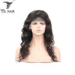 Tdhair 180% Плотность свободная волна перуанский девственные волосы Искусственные парики синтетический Frontal шнурка волос человеческие