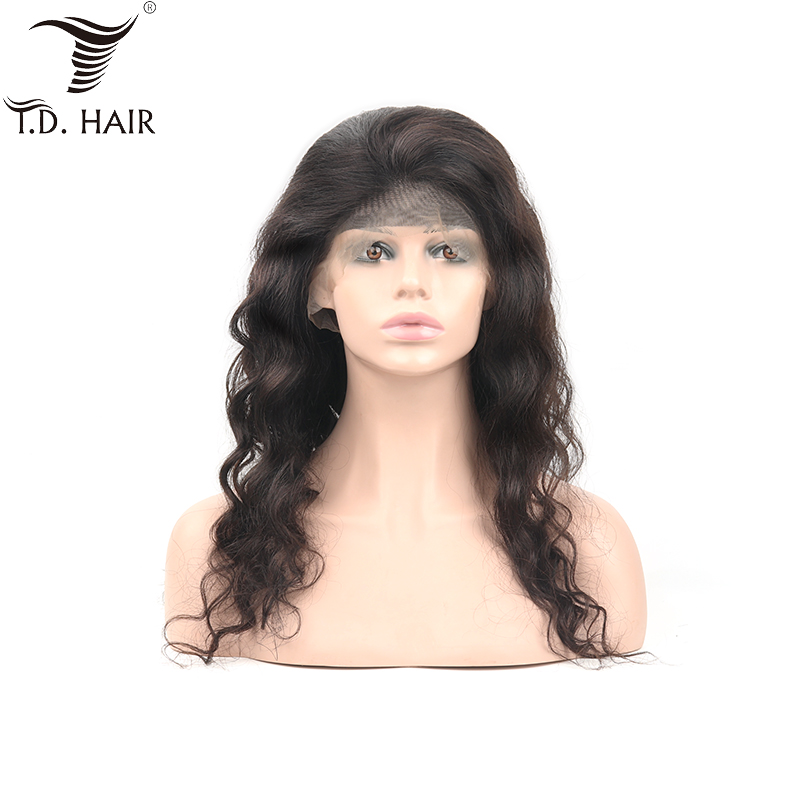 Tdhair 180% Density Loose Wave Peruvian Virgin Hair Wigs Lace Frontal Human Hair Wigs For Women Pre Plucked  Natural Hairline