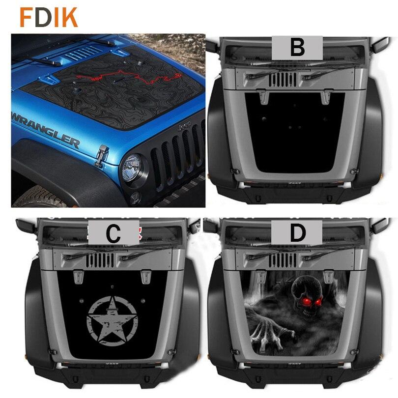 Mat Noir Capot Moteur Grande Étoile Carte Crâne Autocollant de Vinyle de Décalque pour Jeep Wrangler Unlimited TJ JK