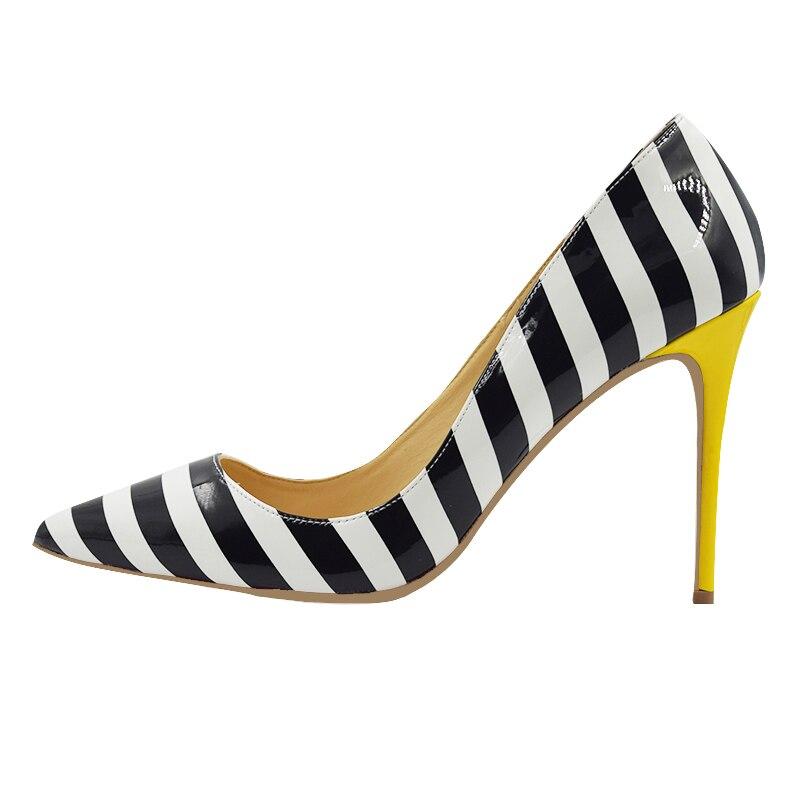 Plus Size 34 45 Zebra White Black Strips Shallow Women Pumps High Heels Dress Shoes for