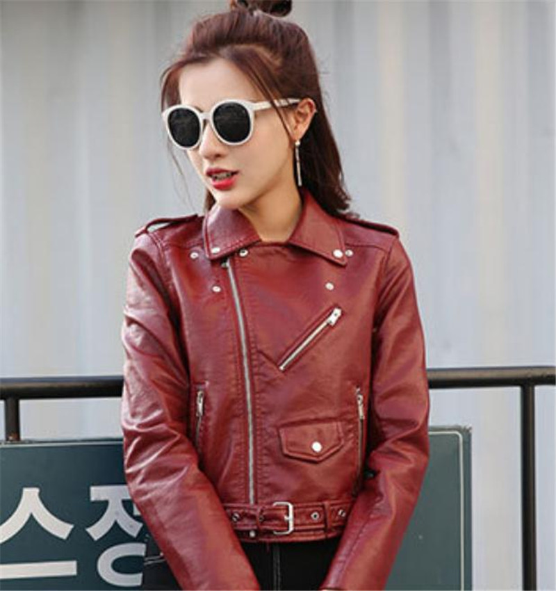 Wine red S-XXL XXXL Russian Fashion Lady Pu   Leather   Jacket Coats Street Fashion Exercise Jackets Coat Handsome Personality Slim