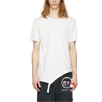 M-6XL! menswear  2019   The new fashion slant hemline T-shirt deconstructs simple and comfortable cotton T-shirt
