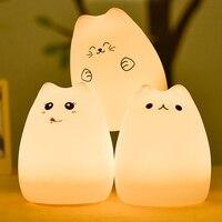 Premium 7 Colors Cat Lamp LED USB Children Animal Baby Night Light Silicone Soft Cartoon Nursery