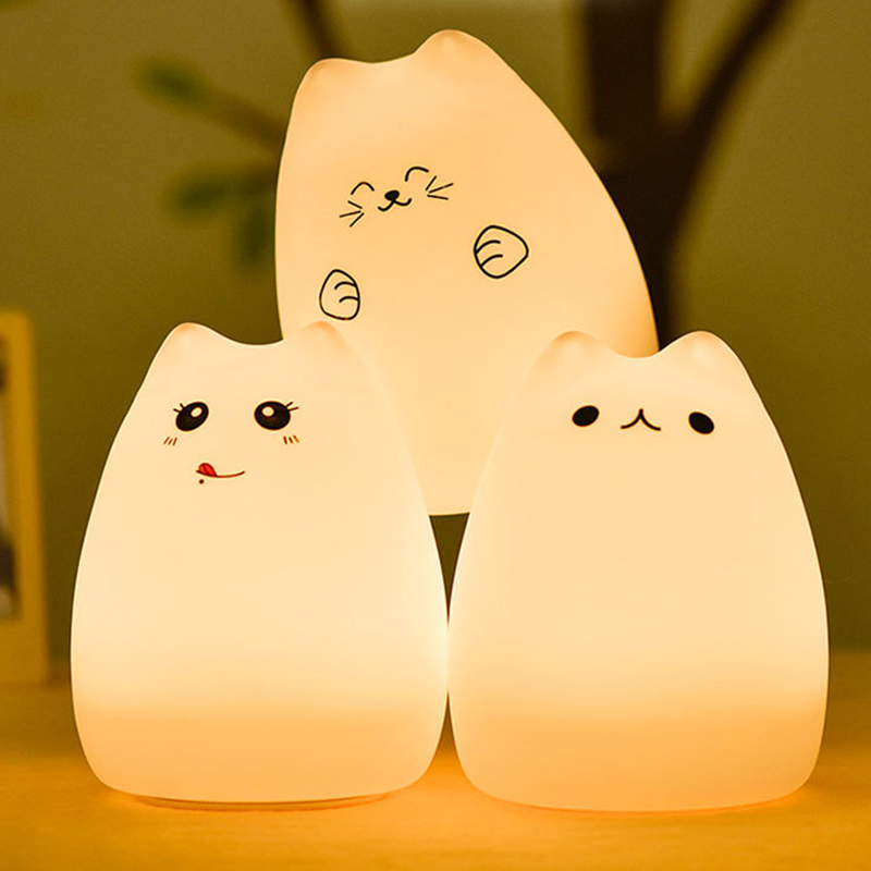 Premium 7 Colors Cat Lamp LED USB Children Animal Baby Night Light Silicone Soft Cartoon Nursery Lamp Breathing LED Night Light ...