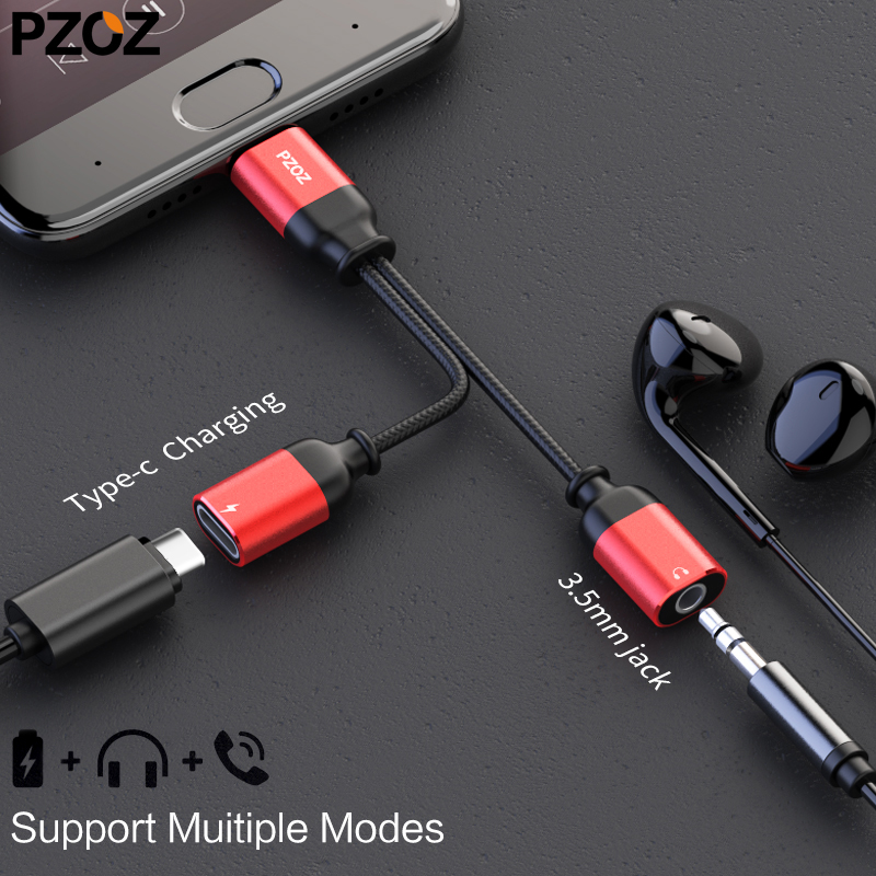 pzoz usb type c to 3.55mm jack audio splitter headphone cable Earphone aux 3.5 Adapter charger usb-c for xiaomi mi6 mix2 huawei