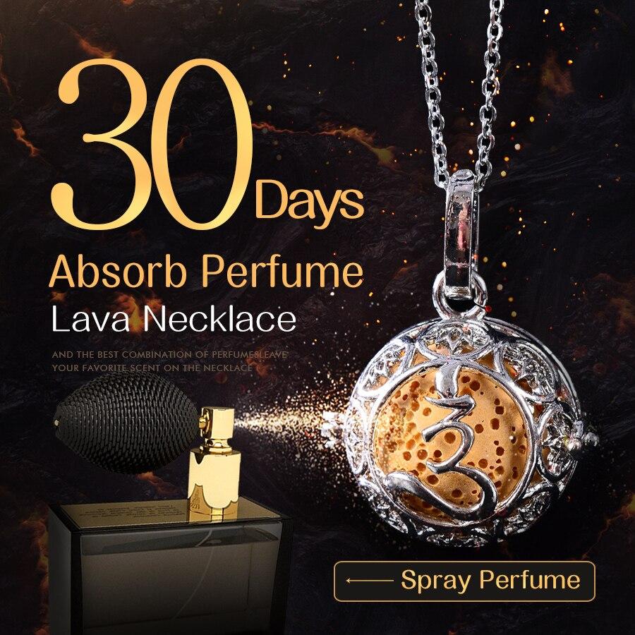 45 cm Zubehör Lava Halskette Anhänger Vulkangestein Steinkette Opulente Halskette Frauen Parfüm Lava Ball Glücklich Halsband Schmuck Geschenk