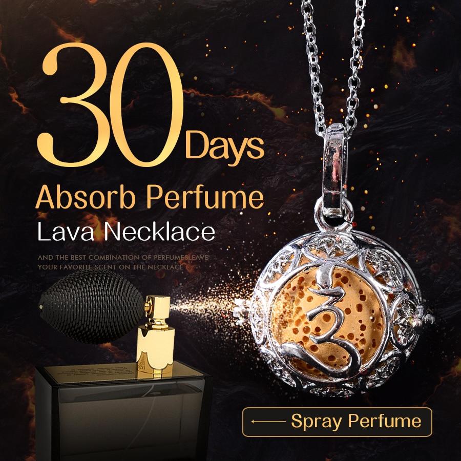 45 cm Cadeia de Acessórios Colar de Pingente Volcanic Lava Pedra Colar Apelativo Mulheres Perfume Lava Bola Sorte Presente Da Jóia Gargantilha