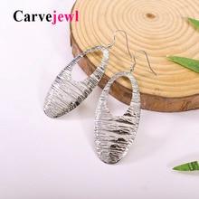 Carvejewl big Earrings simple minimalist metal hollow out oval pendant Drop Dangle Women jewelry European style earring