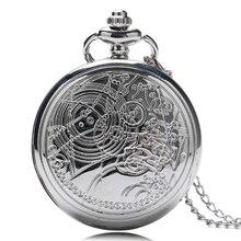 Vintage New doctor who design pocket Watch Necklace Silver Pendant Watch Quartz