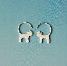 925 Sterling Silver Cute Long tailed Cat font b Earrings b font For Women Girl Lovely