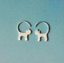 SHNCA Brand 925 Sterling Silver Cute Long Tailed Cat Earrings For Women Lovely Kitty Stud Earrings